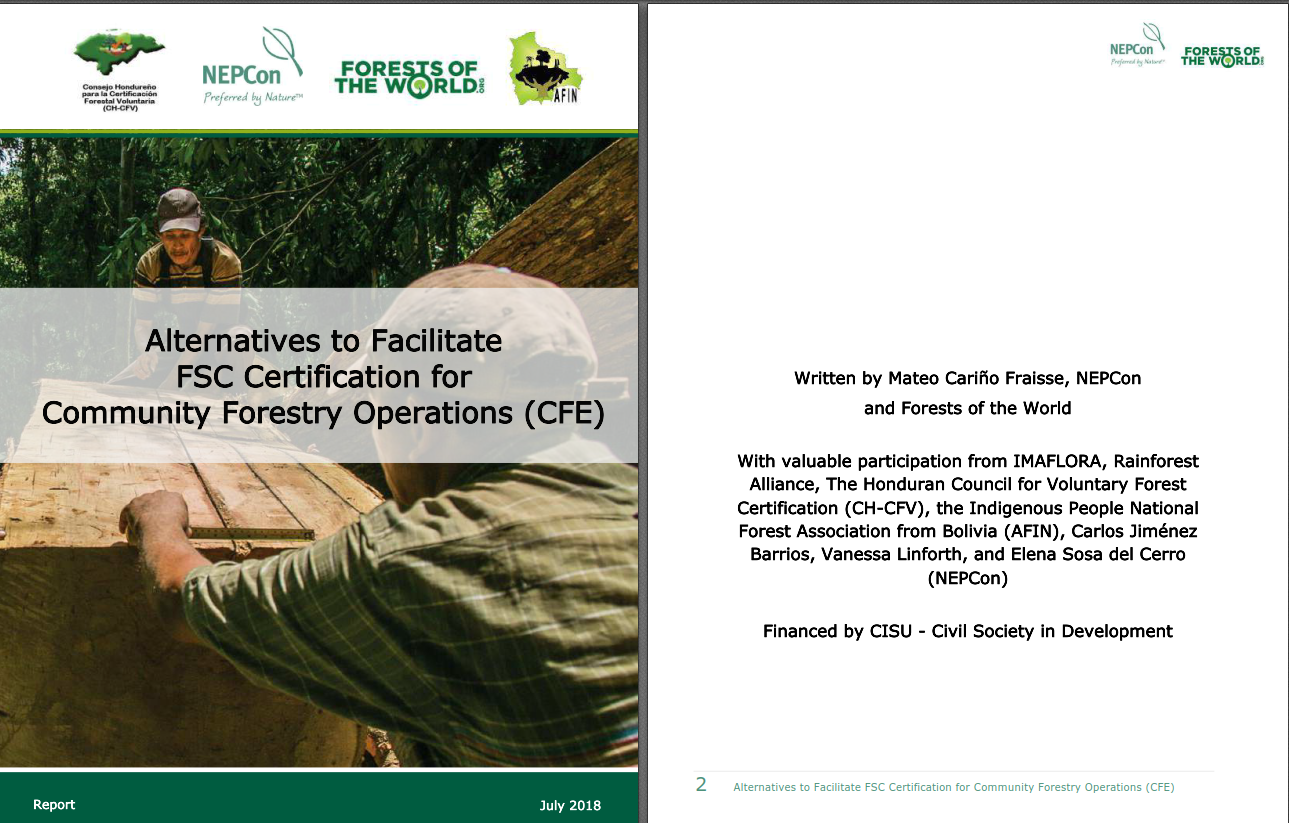 Report: Alternatives to Facilitate FSC certification for Community Forestry Operations