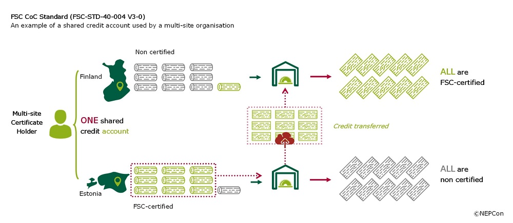 Diagram of multi-site credit system