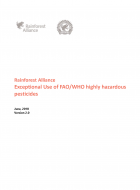 Rainforest Alliance Exceptional Use of FAO/WHO highly hazardous pesticides