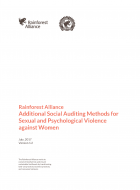 Rainforest Alliance - Additional Social Auditing Methods for Sexual and Psychological Violence against Women