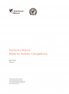 Rainforest Alliance Rules for Auditor Competence