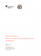 Rainforest Alliance Policy on sales during suspension and cancellation